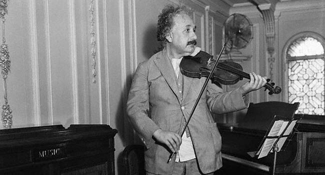 Albert Einstein with violin